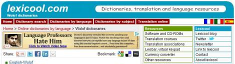 Home > Online dictionaries by language > Wolof dictionaries