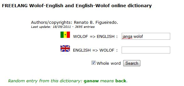 FREELANG Wolof-English and English-Wolof online dictionary