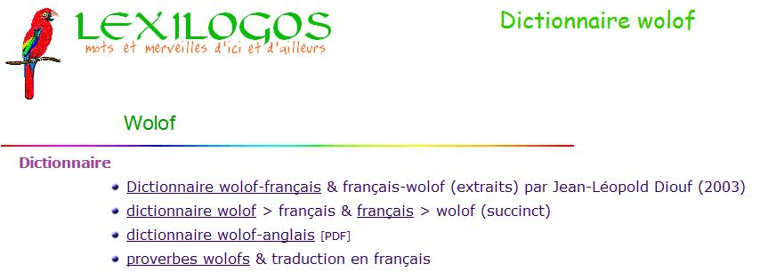 Dictionnaire wolof